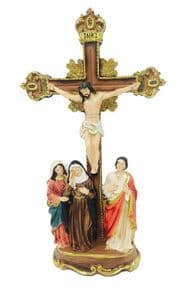 Jesus Christ on the Cross Mary John and Mary Magdalene Religious Ornament Statue